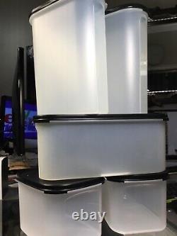 10 Pc New Vintage Tupperware Modular Mates Kitchen Set BLACK SEALS