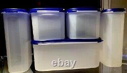 10 Pc New Vintage Tupperware Modular Mates Kitchen Set BLUE SEALS
