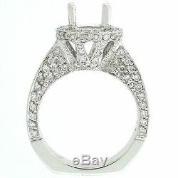 14k Antique Style Semi Mount Diamond Engagement Ring Setting 1.34 Cts -7.5mm