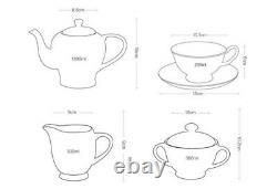 21 Pieces Vintage English Style Set Bone China Tea Kettle Teapot & Saucers Pink