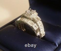 3 Ct Princess cut Vintage Diamond Engagement Ring Wedding set White Gold ov
