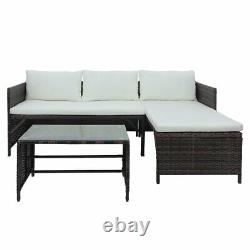 3 PCS Rattan Wicker Sectional Sofa Set Outdoor Patio Garden Furniture with Table
