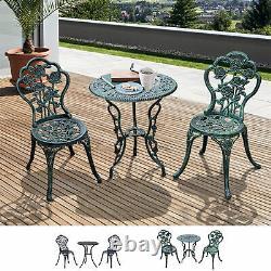 3 Pcs Cast Aluminum Bistro Set Garden Furniture Dining Table Chair Antique/Black