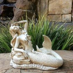 3 Piece Mermaid Statue Set Garden Sculpture Figurines Detailed Nautical Decor