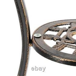 3PC Cast Aluminum Patio Furniture Tulip Design Bistro Set Antique Copper