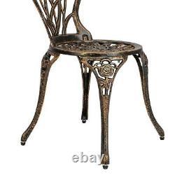 3pc Patio Bistro Furniture Set Outdoor Garden Iron Table Chair Bronze