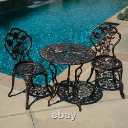 3pcs Outdoor Patio Furniture Cast Aluminum Bistro Set Table Antique Bronze/White