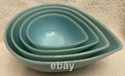 4 Vintage Fire King Delphite Blue Swedish Modern Teardrop Mixing Bowl Set MINT