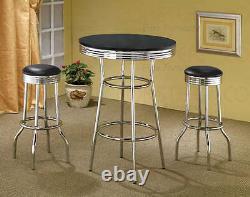 50's Retro Black Bar Table and Swivel Bar Stool Set by Coaster 2405-2408