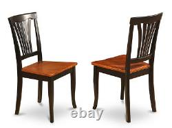 5pc East West dinette set, 36 round pedestal table + 4 chairs in black & cherry