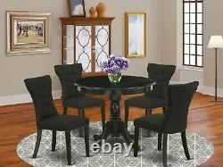 5pc kitchen dining set 36 round table with 4 parsons chairs in wire brushed black
