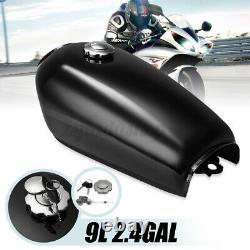 9L 2.4 Gallon Vintage Motorcycle Fuel Gas Tank Cap Tap Set For Honda CG125 Cafe