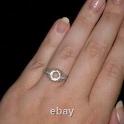 ART DECO 7mm ROUND DIAMOND SEMI-MOUNT ENGAGEMENT RING VINTAGE SETTING SQUARE 14K