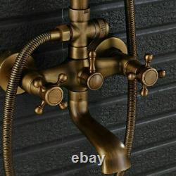 Antique Brass Bathroom Shower Faucet Set Shower Fixture Rainfall Head Tub Spout