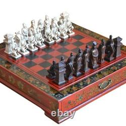 Antique Chess Set Board Terracotta Army Wood Carved Unique Vintage Collectible