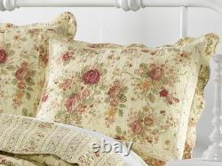 Antique Rose 3pc Queen Quilt Set Ecru Vintage Cottage Chic Romantic Red Floral