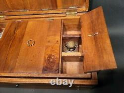 Antique Vintage Style Travel Wood Writing Set Desk Box