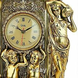 Antiqued Grand 20 Chateau Chambord Clock and Candelabra Ensemble Set