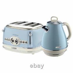 Ariete Retro Style Jug Kettle and 4 Slice Toaster Set, Vintage Design, Blue