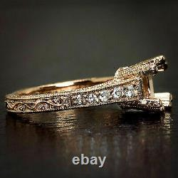 Art Deco Diamond Semi Mount Round Cushion Vintage Engagement Ring 14k Rose Gold