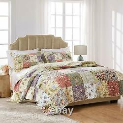 BLOOMING GARDEN Full Queen or King QUILT SET COTTON VINTAGE FLORAL PAISLEY