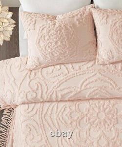 BLUSH PINK CHENILLE 3pc King COVERLET SET VINTAGE STYLE LAETITIA COTTON FRINGE