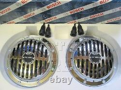 BOSCH Megatone Silver Vintage 12V Horn Set VW Beetle Type 2 3 Split Porsche 356