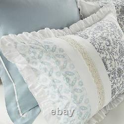 Beautiful 8pc Elegant Vintage Chic White Blue Lace Country Ruffle Comforter Set