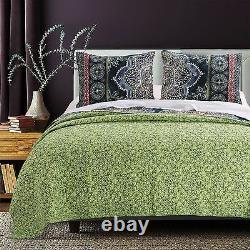 Beautiful Chic Navy Blue Green Red Boho Tropical Soft Global Bohemian Quilt Set