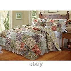 Beautiful Garden Floral Vintage Antique Rose Patchwork Oversize Quilt Set King