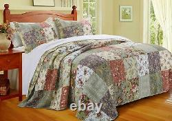 Beautiful Over-sized XXXL Patchwork Floral Pink Rose Vintage Bedspread Quilt Set