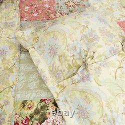 Beautiful Patchwork Sage Green Ivory Pink Rose Blue Floral Quilt Bedspread Set