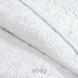 Beautiful X Extra Large White Classic Scroll Stitch Bedspread Quilt Set King Sz