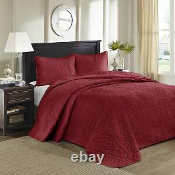 Beautiful XXXL Large Red Soft Vintage Scroll Stitch Bedspread Quilt Set King