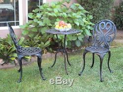 Bistro Set for Outdoor Patio Cast Aluminum Furniture 3 Piece G