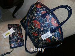 Brahmin Large Duxbury Navy Baronia Blue Red Bag & Baronia Suri Wallet Set Nwt