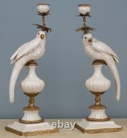 Bronze Ormolu White Crackle Parrot Bird Oriental Porcelain Candle Holders Set/2