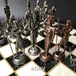 Chess set Vintage Retro Egyptian Pharaoh, Luxury Handmade And Marble Chess Board