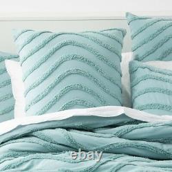 Cloud Linen Wave 100% Cotton Chenille Vintage washed tufted Quilt cover Set Aqua