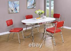 Coaster Cleveland 5 Piece Retro Oval Dining Set in White and Red