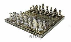 Collectible Large 100% Brass Vintage Chess board game set for adults 14X14 inch