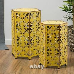 Contemporary Outdoor Hexagonal Antique Yellow Iron Accent Tables (Set of 2)