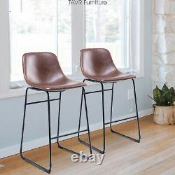 Counter Barstool Vintage PU Leather Bar Stools with Back and Footrest, Set of 2