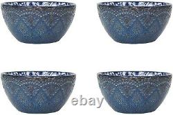 Dinnerware Set Vintage Plates Dishes Bowls Mugs Stoneware White Blue Kitchen 16