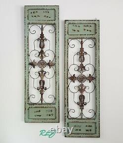Distressed Antique Vintage French Wood Metal Garden Gate Door Set/2 Wall Panel