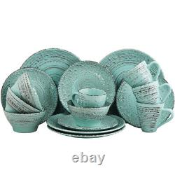 Elama Elm-Malibu-Waves Malibu Waves 16-Piece Dinnerware Set In Turquoise