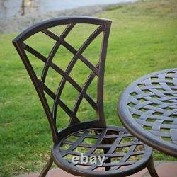 Glenbrook Traditional Outdoor Copper Cast Aluminum Bistro Set with Umbrella Hole