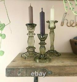 Green Cut Glass Candlestick French Vintage Style Dinner Table Candle Holder