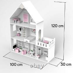 Großes Holz Puppenhaus Barbiehaus Traumhaus Puppenstube GS0023 B Möbeln Villa