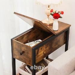 HOOBRO Set of 2 Narrow End Tables Flip Top Side Table Nightstands Wood Table